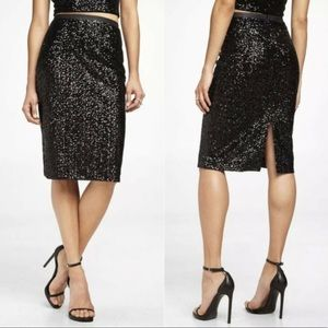 NWOT EXPRESS Black Sequin Pencil Skirt w/ Leather
